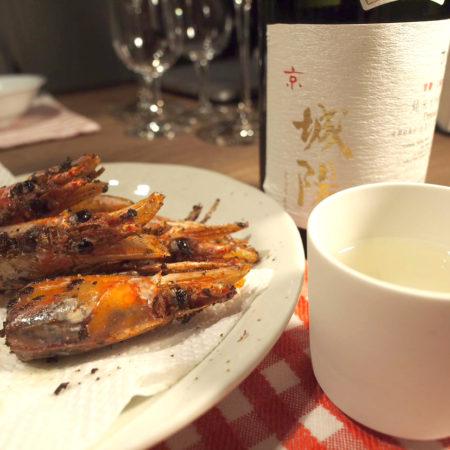 エビの頭と日本酒